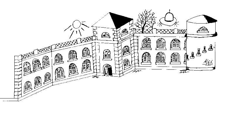 Gemaltes Bild unserer Schule - Schülergrafik
